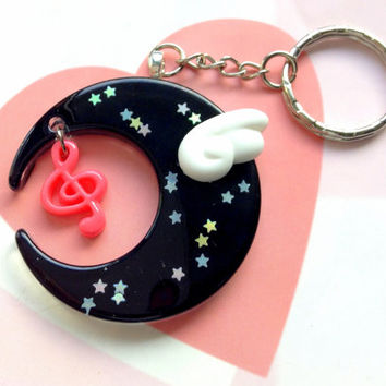 Black Mahou Kei Moon Keychain With Kawaii Angel Wing and Music Note, Magical Girl Moon Necklace, Mahou Kei Jewelry, Resin Moon Bag Charm