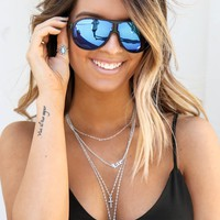 Black Frame Blue Mirror Lens Sunglasses