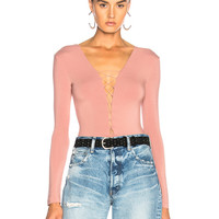 T by Alexander Wang Lace Up Bodysuit in Guava | FWRD