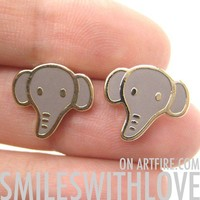 SALE Elephant Animal Stud Earrings in Grey on Gold from Dotoly Love