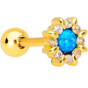 Aqua Synthetic Opal Gold PVD Sun Flower Tragus Cartilage Earring