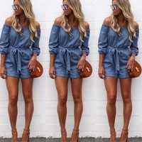 2018 Women V neck Clubwear Playsuit Sexy Bodycon Party Jumpsuit Trousers Romper Jeans
