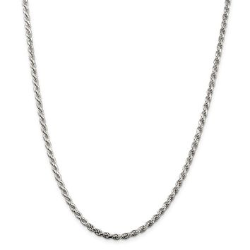 925 Sterling Silver Rhodium-plated 3mm Diamond-cut Rope Chain Necklace, Bracelet or Anklet