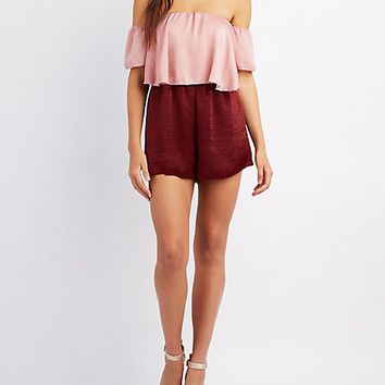Colorblock Off-The-Shoulder Romper