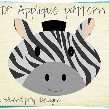 Zebra Applique Pattern - Zoo Applique Template / Kids Zoo Quilt Pattern / Cute Nursery Decor / Toddler Zebra Applique Shirt / Print AP317-D