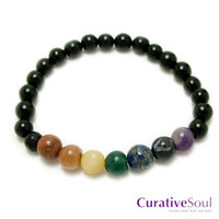 Chakra Stone and Black Agate Bracelet : Curative Soul - healing mind, body, and spirit.