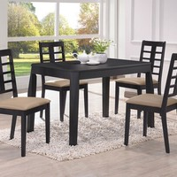 5 pc Huy collection black finish wood small dining table set with cream leather like vinyl chairs