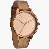 Nixon The Kensington Leather Watch Rose Gold Shimmer One Size For Women 24407238101