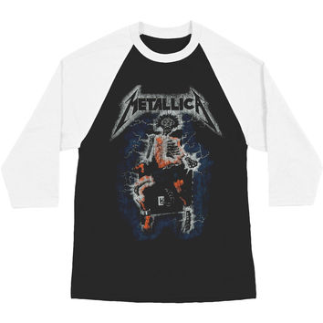 Metallica Men's  Vintage Electric Chair Baseball Jersey White & Black