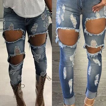 Women's Ripped Stretch Denim Pants Skinny Jeans Slim Distressed Pencil Trousers