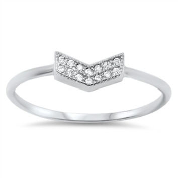 925 Sterling Silver CZ Dual Channel V Ring 5MM
