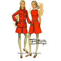 Butterick 5615 MoD SAFARI JACKET & DRESS Pattern Sleeveless Dress, Belt and Long Sleeves Jacket Size 14 Bust 36 UNCuT Womens Sewing Patterns