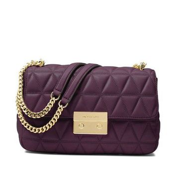 VONW3Q MICHAEL Michael Kors Sloan Large Quilted-Leather Shoulder Bag in Damson