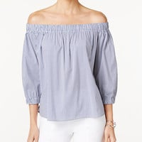 Marled Striped Off-The-Shoulder Top - Tops - Women - Macy's