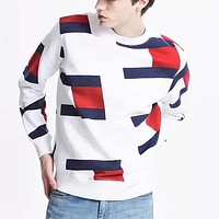 Tommy Fashion Casual Multicolor Scoop Neck Long Sleeve Top Sweater Pullover