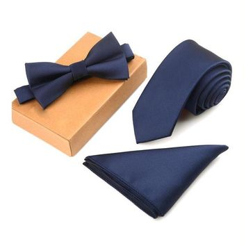 Blue Horizon  3 Piece Tie + Bow Tie + Pocket Square Set