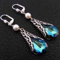 Bermuda Blue Crystal Pearl Earrings Peacock Victorian Sapphire W - Wedding Jewelry | Handmade