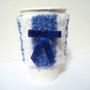 White Coffee Cozy with Blue Bow