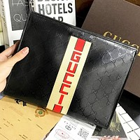 GUCCI New fashion  more letter leather cosmetic bag file package handbag Black