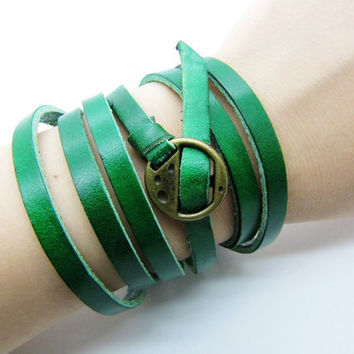 Jewelry Bangle Green Leather Bracelet Women Leather Cuff Bracelet girl Bracelet 669A