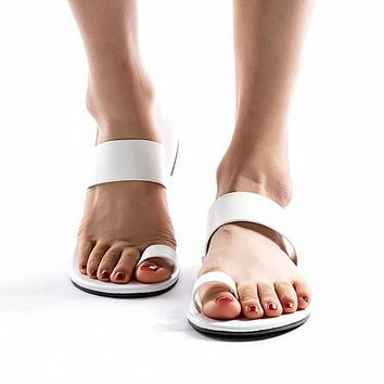 Women's Beach Open Toe Flat Sandals white