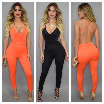 Spaghetti Strap Deep V Neck Back Crisscross Bodycon Jumpsuit