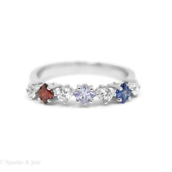 Personalized 3 Birthstone Sterling Silver Ring w/ White Accent Stones