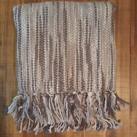 "NEW Cozelle 60"" x 50"" Grey Woven Throw Blanket With Fringe Edge 100% Acrylic"