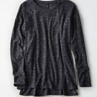 AE Plush Drop Shoulder Crew, Dark Gray