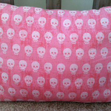 Pink skull decor pillow newly made by SammiesBlankets on Etsy