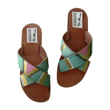 Greek leather sandals, aztec sandals, painted sandals, tribal, hippie, indie, boho, bomenian. Indian sandals men's or women's