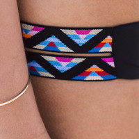 L'Space Duet Double Tribal Strap Black Bikini Bottoms