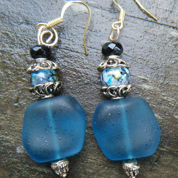 Tumbled Square Nugget Sea Glass  Earrings Teal sea glass with Black and Crackle Beads. Pretty dangle earrings. WAS 14.00