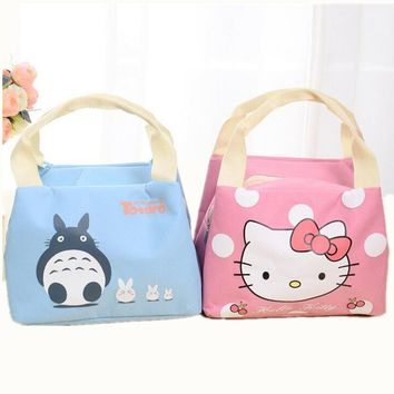 Waterproof Cartoon Cat Thermal Cooler Lnsulated Stitch Lunch Carry Storage Picnic Bag Pouch Lunch Bag for Women Kids