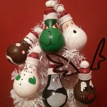 Hand painted light bulb ornaments, Christmas ornaments, gift for any occasion, decorated light bulb, recycled light bulb