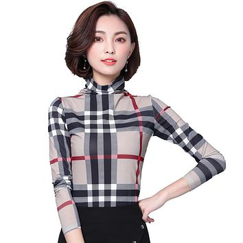Women Tops And Blouses 2017 Autumn Long Sleeve Mesh Tunic Plaid Blouse Checked Shirts Plus Size Women Clothing Blusas Femininas