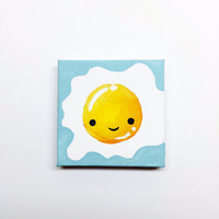 Kawaii Art, Kawaii Egg Painting, Fridge Magnet, Kawaii Decor, Kawaii Food, Cute Decor, Cute Egg Painting, Kawaii Magnet,  Food with Faces
