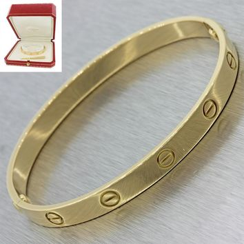 Authentic Cartier 18K Yellow Gold Love Screw Bangle Bracelet Size 18 w/Box