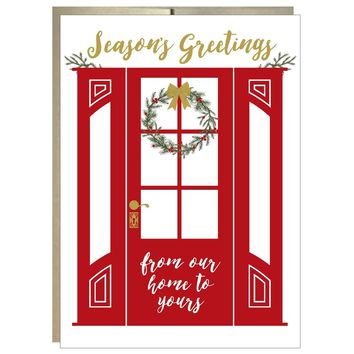 Wreath on Red Door Seasons Greetings Card