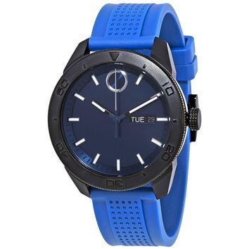 Movado Bold Blue Dial Mens Rubber Watch 3600459
