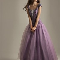 Ball Gown Cap Sleeves Ruched Bodice Taffeta Tulle Modest Prom Dress PD10566