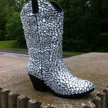 Shop Rhinestone Cowboy Boots on Wanelo