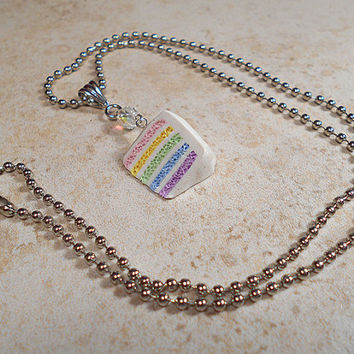 Pastel Rainbow Cake Necklace with AB Faceted Bead and 18 Inch Ball Chain Kawaii Fake Food Jewellery Faux Frosted Layer Cake