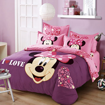 2016 New Style Fashion Queen/Full/Twin Size bed set Minnie Mouse Bedding Set Bedclothes duvet cover bed sheet pillowcases