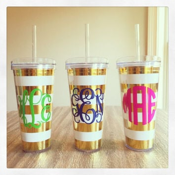 Personalized Gold Foil Striped 22oz Tumbler