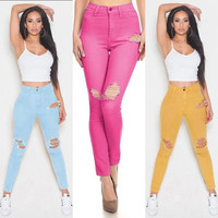 Fashion Elastic Big Hole Ripped Slim Pencil Pants