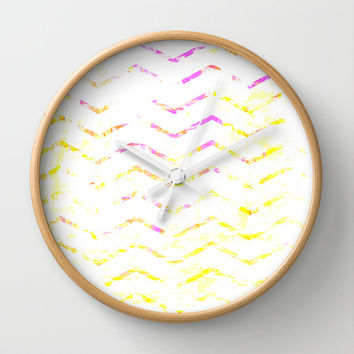 Pink and Yellow Chevron Painting Wall Clock by T30 Gallery