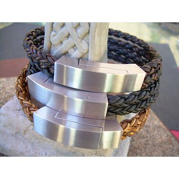 Leather Bracelet for Men, Braided Leather Bracelet, Industrial, Stainless Steel, Magnetic Clasp , Mens Bracelet, Mens Jewelry, Leather