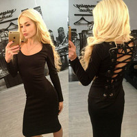 Solid color Fashion backless dress-5