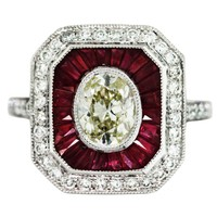 .97 Carat Oval Diamond Ruby Platinum Vintage Style Engagement Ring
